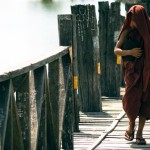 Monk at U-Bein Bridge, Burma