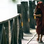Monk at U-Bein Bridge, Burma