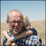 Daniel with son Karl. Dasht-e-Kavier Desert, Iran 2012.